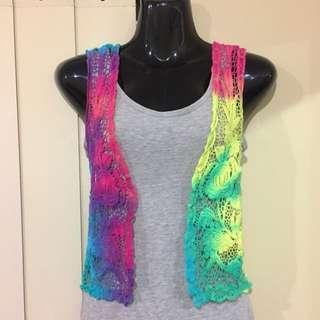 Tie Dye Ladies Crochet/ Lace Vest