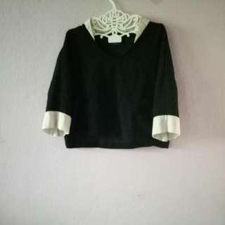 Boxy Black White Top