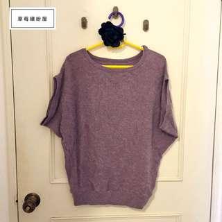 ♪ 草莓繽紛屋〃【全新】夢幻紫色x軟綿綿混兔毛針織短袖毛衣