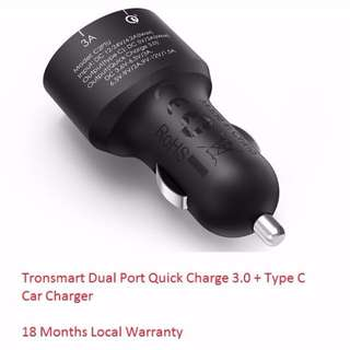 🚚 Tronsmart Dual Port Quick Charge 3.0 + Type C Car Charger