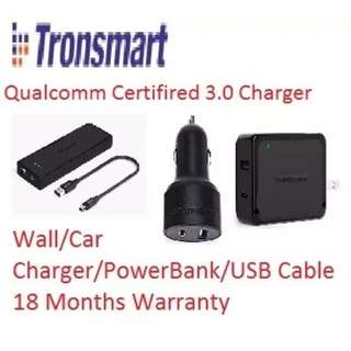 【Qualcomm Certified】Tronsmart Dual Port USB Charger Quick Charge 3.0 / Type C / USB type A to C Cable / Car Charger / Power Bank #UobPayNow
