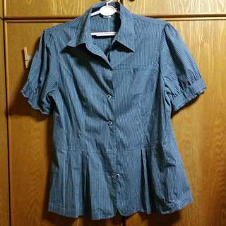 Striped Blue Work Blouse
