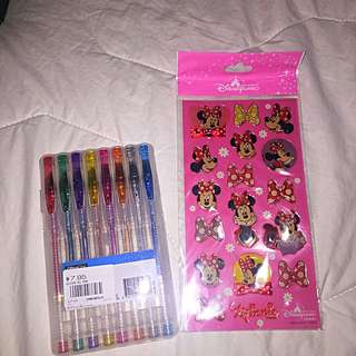 Gel Pens/Disney Land Micky Mouse Stickers