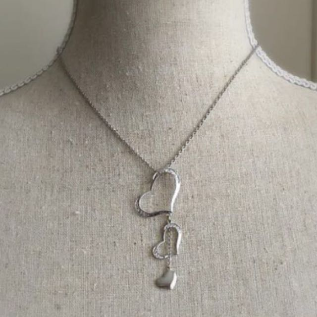 3 Tier Heart Necklace - sterling silver