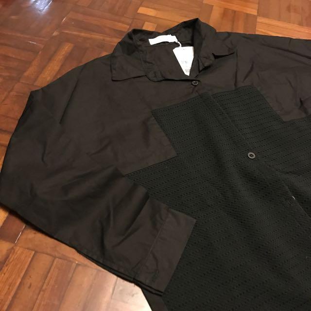 全新✨ 百貨專櫃拼接黑襯衫