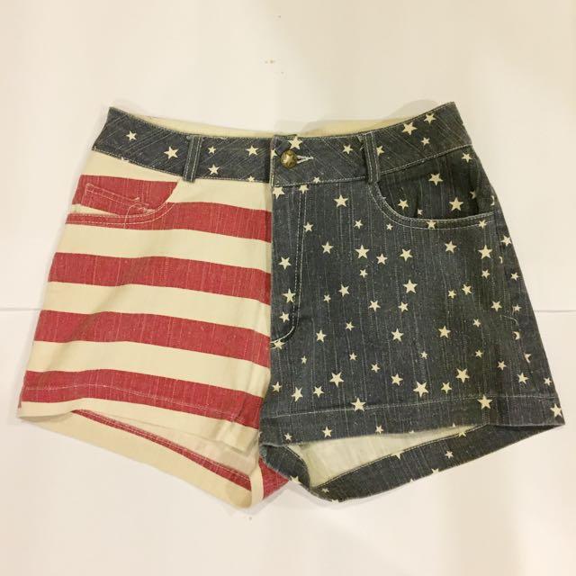 American Flag Printed High Waist Shorts