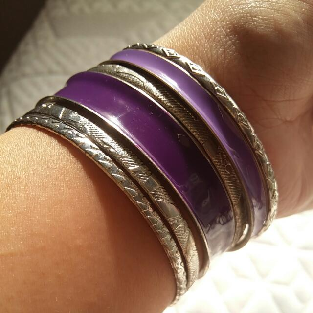 Assorted Silver And Purple Bangles