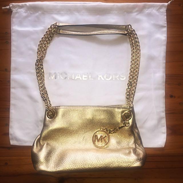 AUTHENTIC Michael Kors Metallic Jet Set Chain Medium Messenger Bag