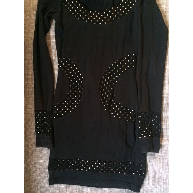 Black Stud Mini Dress