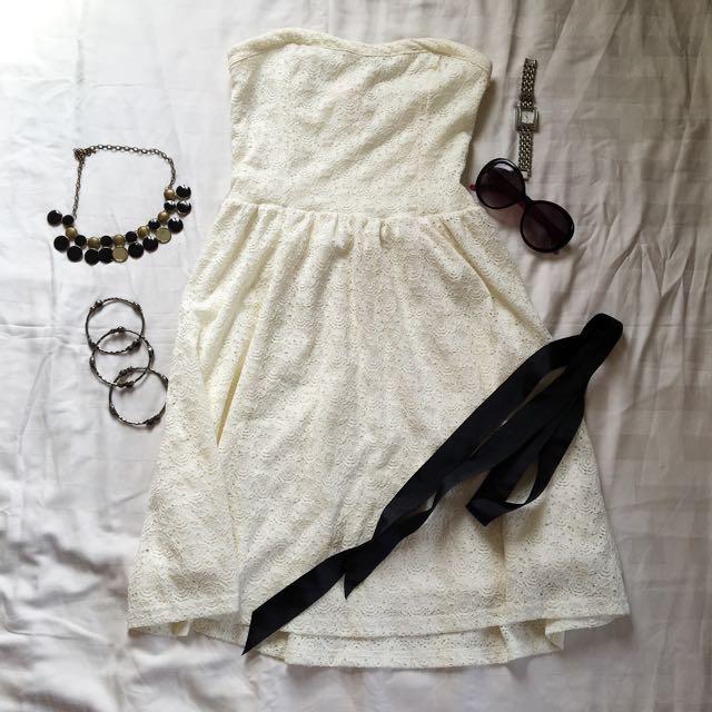 Cache Cache White Lace Tube Dress