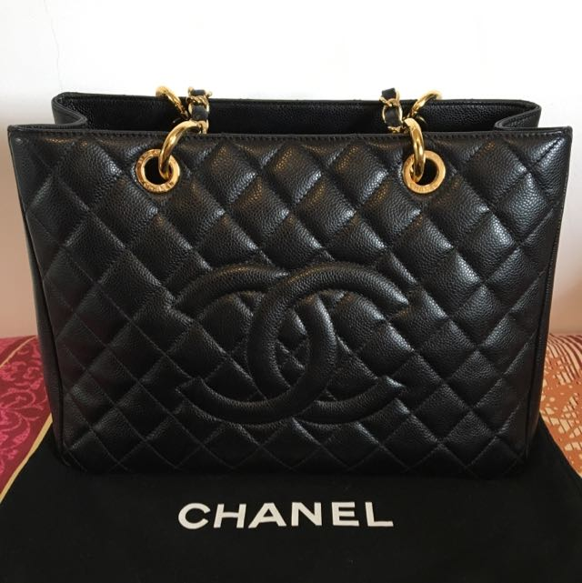27d3662554d444 Chanel Grand Shopping Tote (GST) In Black Caviar and GHW, Luxury ...