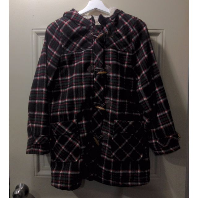 child women 日牌百貨專櫃購入牛角扣格紋大衣外套 七成新