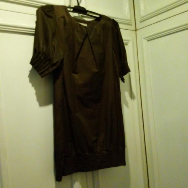 Dark Brown Knee-length Dress