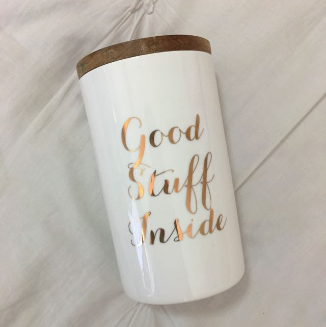 "Decorative Ceramic Jar - ""Good Stuff Inside"" Copper Foil - Lisa T for Target"