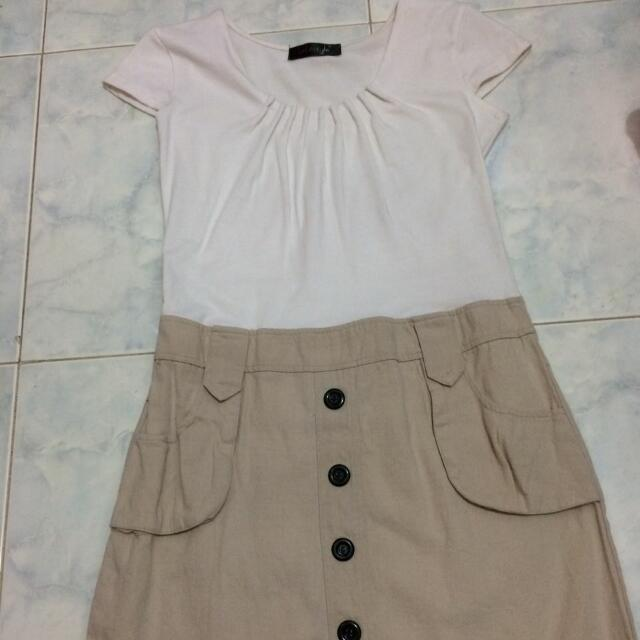 Dress Two Tone Putih Coklat