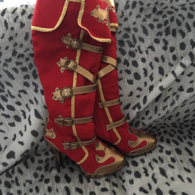 Funtasmsa Red And Gold Pirate Boots