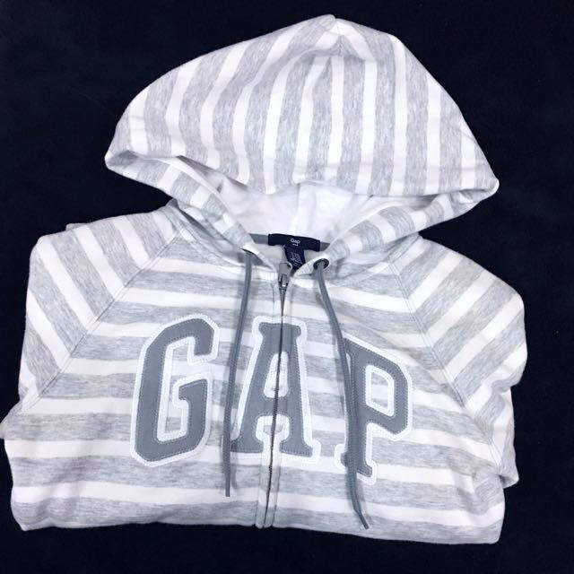 GAP 女生 條紋灰白連帽外套 日本帶回 保證正品 外套 XXS號