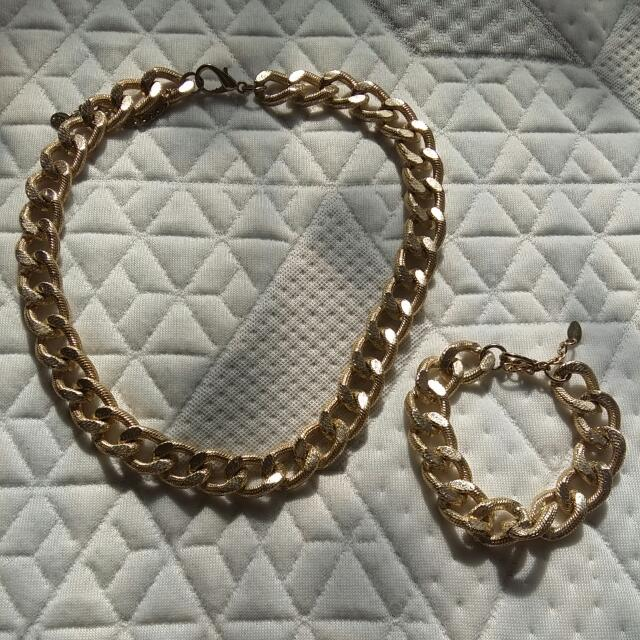 Gold Chain Necklace And Bracelet