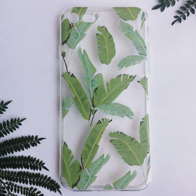 Green Jungle Tropical Palm Leaf Transparent iPhone Case