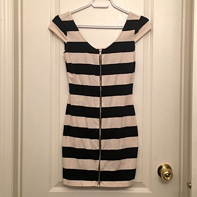 H&M Zipper Front Striped Dress