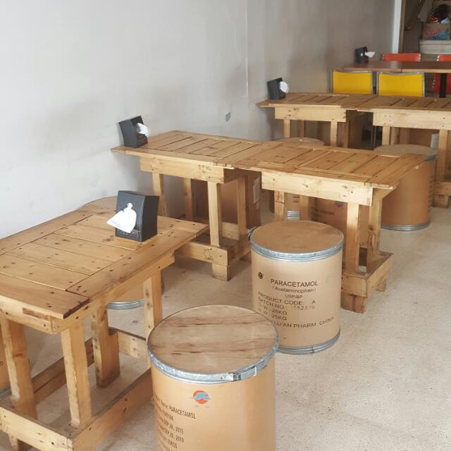 Kursi Kayu Cafe Bulat Perabotan Rumah Di Carousell