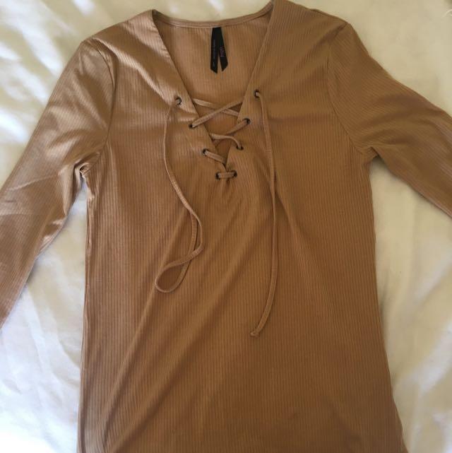 Lace V Neck Shirt 3/4 Length Sleeves