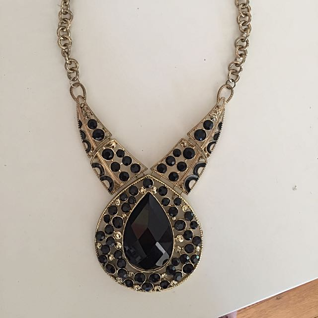 Large Gold And Black Necklace