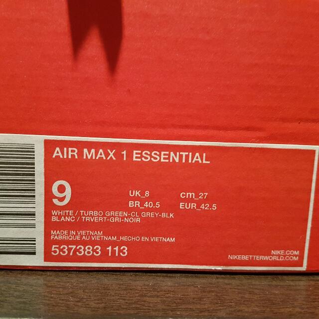 Nike Airmax 1 Essentials - Mens 9 (Ladies 10)