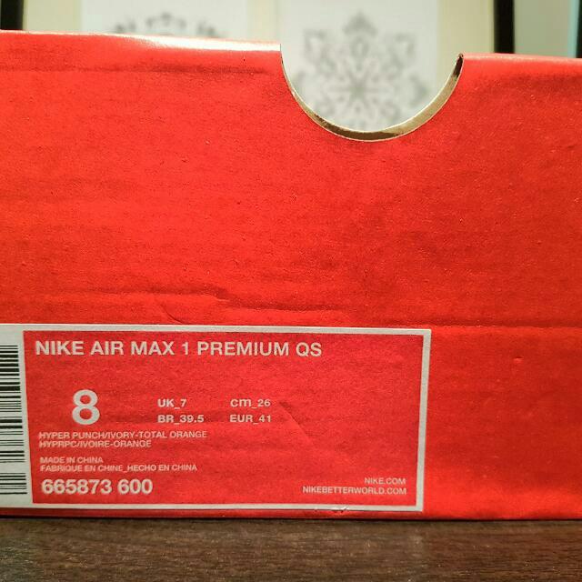 Nike Airmax 1s 'Premium' - Size 8 (Ladies 10)