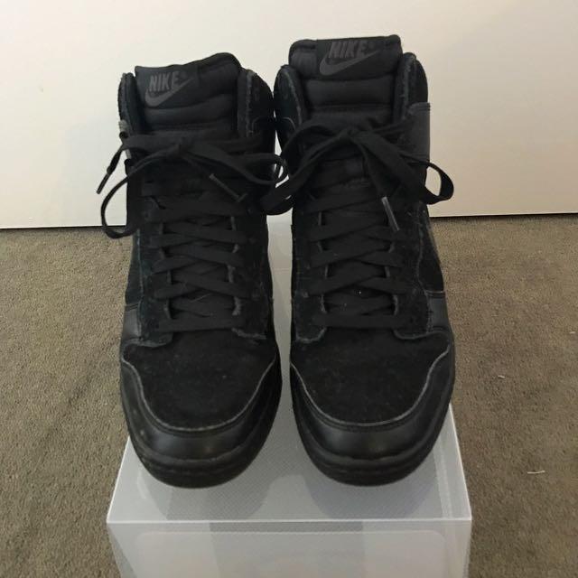 Nike Black Wedge Sneakers