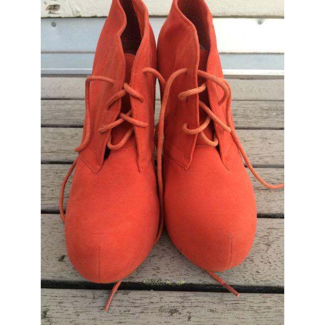 Orange Lace Up Boot Heels
