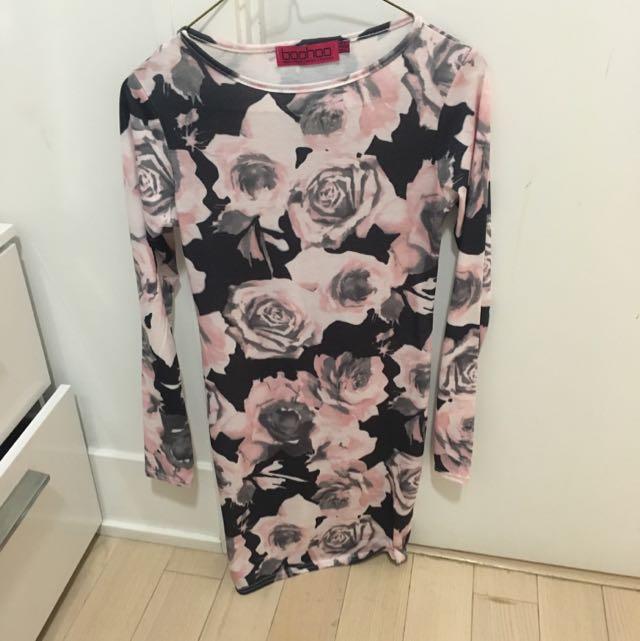 Pink And Black Rose Patterned Jersey Dress