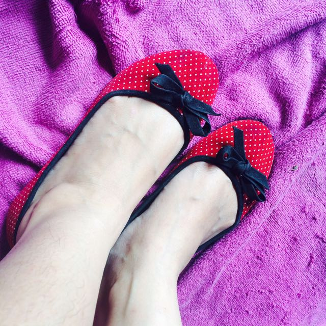 Polka Red Flat Shoes