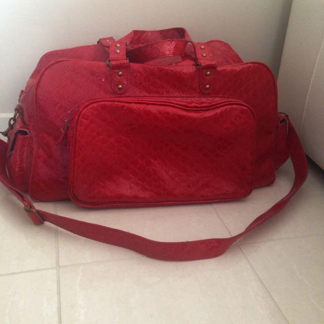 Red Faux Crocodile Skin Overnight Bag