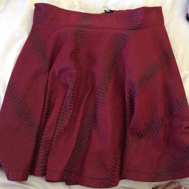 Red High Wasted Skirt