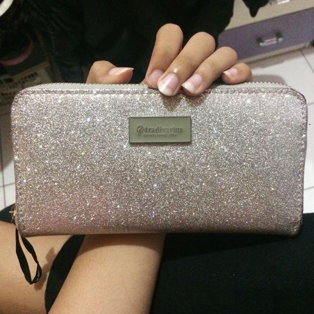 Silver Glitter Wallet by Stradivarius