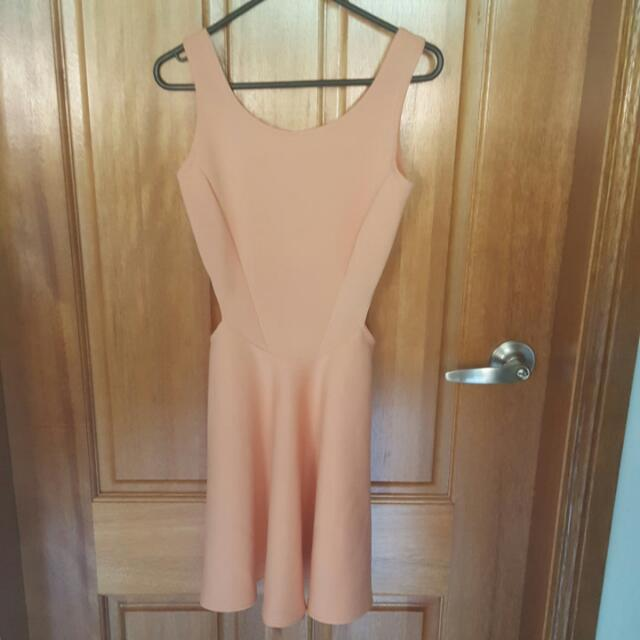 Size 8 - Pastel Orange/nudey dress with cut out