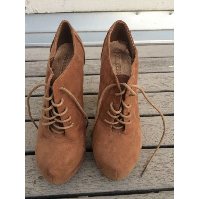 Suede Lace Up Boot Heels