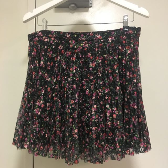 Sz 14 Topshop Floral Mini Skirt With Pleats And Mesh / Tulle Material