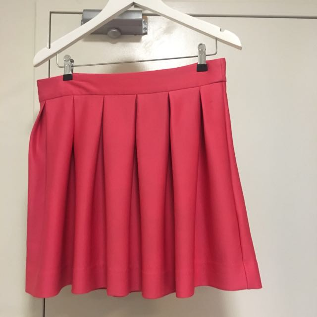Sz L Ally Pink Pleated Skirt