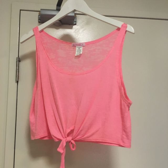 Sz S Supre Hot Pink Tie Up Crop