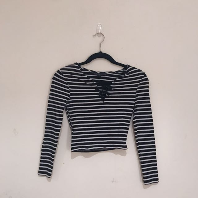 TOPSHOP Petite Striped Crop