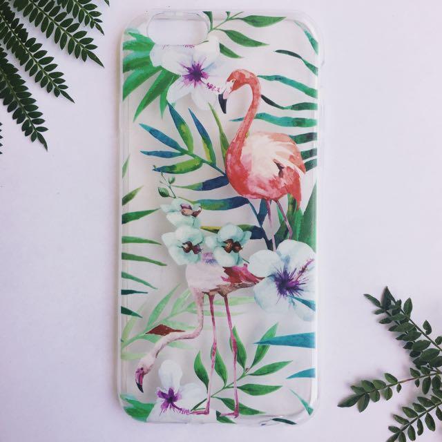 Tropical Flowers Flamingo Transparent iPhone Case