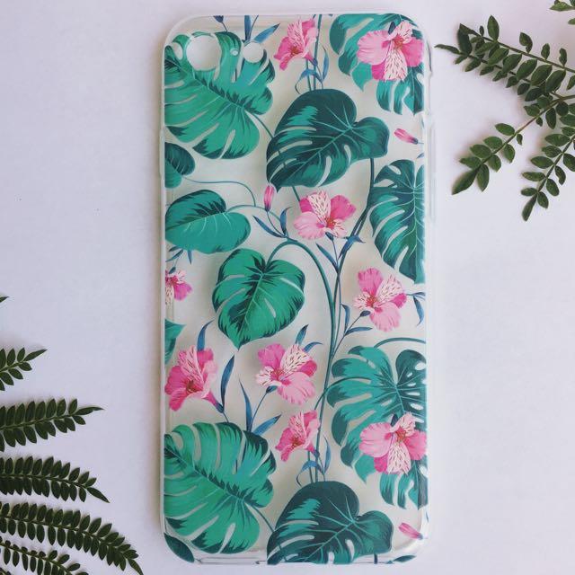 Tropical Vibes Palm Leaf Floral Transparent iPhone Case