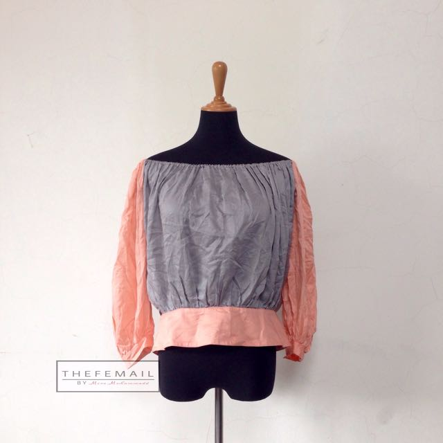 Two Tone Off Shoulder Blouse