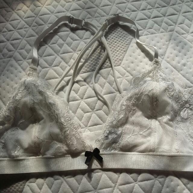 COTTON ON BODY White Crossback Lace Bralette