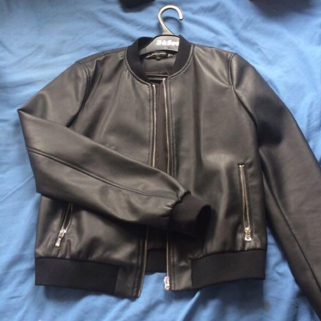 ZARA Trafaluq Bomber Leather Jacket