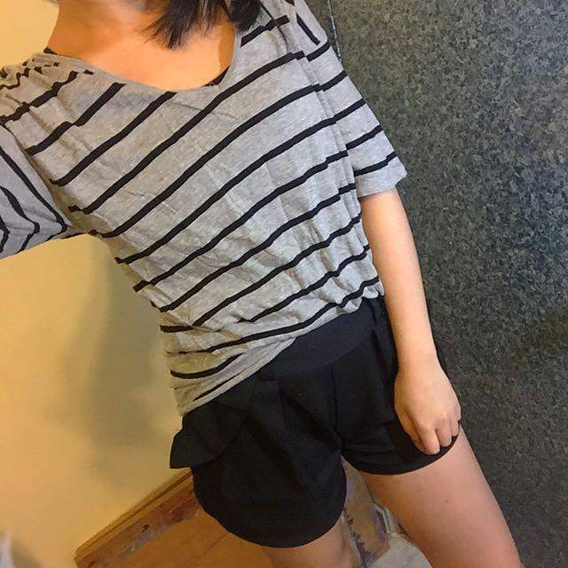 Zara黑灰條紋棉T