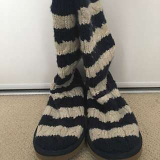 UGGs - Navy Blue And White Knit Boots
