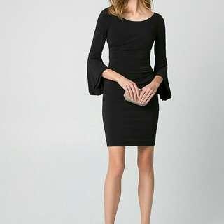 Black Velvet Tight Fit 3/4 Sleeves Off-the-Shoulder Dress